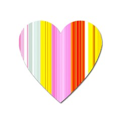 Multi Colored Bright Stripes Striped Background Wallpaper Heart Magnet by Amaryn4rt