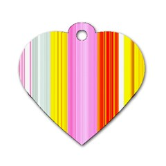 Multi Colored Bright Stripes Striped Background Wallpaper Dog Tag Heart (two Sides) by Amaryn4rt