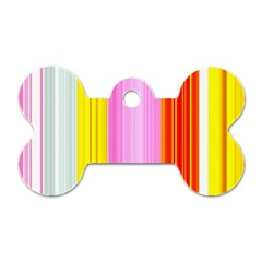 Multi Colored Bright Stripes Striped Background Wallpaper Dog Tag Bone (two Sides) by Amaryn4rt