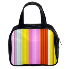 Multi Colored Bright Stripes Striped Background Wallpaper Classic Handbags (2 Sides) by Amaryn4rt