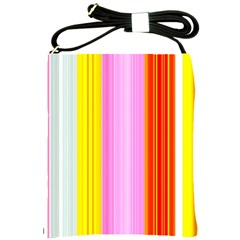 Multi Colored Bright Stripes Striped Background Wallpaper Shoulder Sling Bags by Amaryn4rt