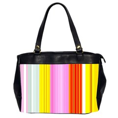 Multi Colored Bright Stripes Striped Background Wallpaper Office Handbags (2 Sides)  by Amaryn4rt