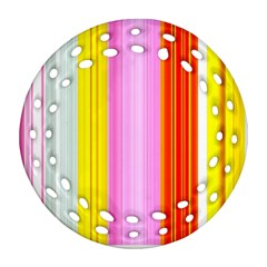 Multi Colored Bright Stripes Striped Background Wallpaper Ornament (round Filigree) by Amaryn4rt