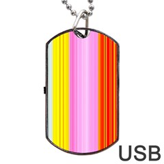 Multi Colored Bright Stripes Striped Background Wallpaper Dog Tag Usb Flash (two Sides) by Amaryn4rt