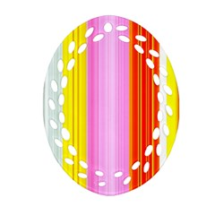 Multi Colored Bright Stripes Striped Background Wallpaper Ornament (oval Filigree) by Amaryn4rt