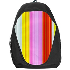 Multi Colored Bright Stripes Striped Background Wallpaper Backpack Bag by Amaryn4rt