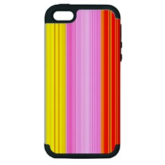Multi Colored Bright Stripes Striped Background Wallpaper Apple Iphone 5 Hardshell Case (pc+silicone) by Amaryn4rt