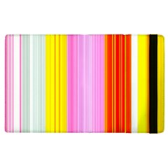 Multi Colored Bright Stripes Striped Background Wallpaper Apple Ipad 2 Flip Case by Amaryn4rt