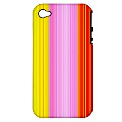 Multi Colored Bright Stripes Striped Background Wallpaper Apple Iphone 4/4s Hardshell Case (pc+silicone) by Amaryn4rt