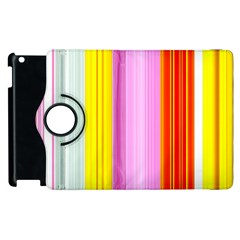 Multi Colored Bright Stripes Striped Background Wallpaper Apple Ipad 3/4 Flip 360 Case by Amaryn4rt