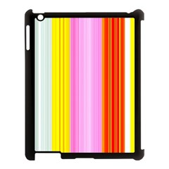 Multi Colored Bright Stripes Striped Background Wallpaper Apple Ipad 3/4 Case (black) by Amaryn4rt