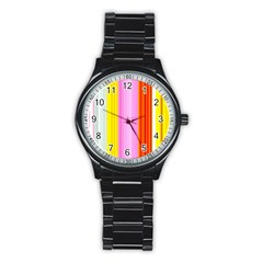 Multi Colored Bright Stripes Striped Background Wallpaper Stainless Steel Round Watch by Amaryn4rt