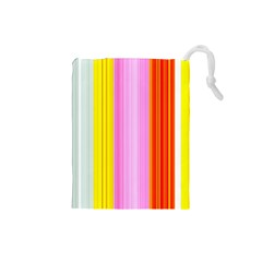 Multi Colored Bright Stripes Striped Background Wallpaper Drawstring Pouches (small)  by Amaryn4rt