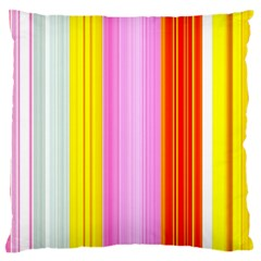 Multi Colored Bright Stripes Striped Background Wallpaper Large Flano Cushion Case (one Side) by Amaryn4rt