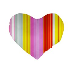 Multi Colored Bright Stripes Striped Background Wallpaper Standard 16  Premium Flano Heart Shape Cushions by Amaryn4rt