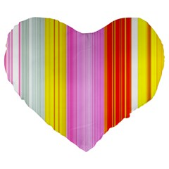 Multi Colored Bright Stripes Striped Background Wallpaper Large 19  Premium Flano Heart Shape Cushions by Amaryn4rt
