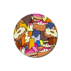 Sweet Stuff Digitally Created Sweet Food Wallpaper Rubber Coaster (round)  by Amaryn4rt