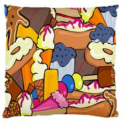 Sweet Stuff Digitally Created Sweet Food Wallpaper Large Cushion Case (two Sides) by Amaryn4rt