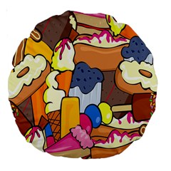 Sweet Stuff Digitally Created Sweet Food Wallpaper Large 18  Premium Round Cushions by Amaryn4rt