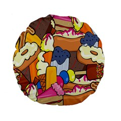Sweet Stuff Digitally Created Sweet Food Wallpaper Standard 15  Premium Flano Round Cushions by Amaryn4rt