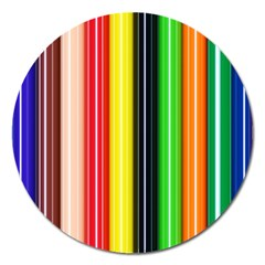 Colorful Striped Background Wallpaper Pattern Magnet 5  (round) by Amaryn4rt