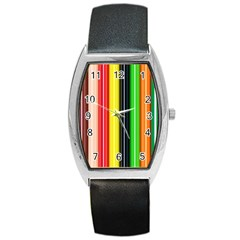 Colorful Striped Background Wallpaper Pattern Barrel Style Metal Watch by Amaryn4rt