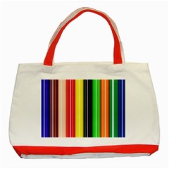 Colorful Striped Background Wallpaper Pattern Classic Tote Bag (red) by Amaryn4rt