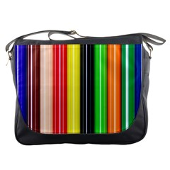Colorful Striped Background Wallpaper Pattern Messenger Bags by Amaryn4rt