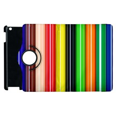 Colorful Striped Background Wallpaper Pattern Apple Ipad 3/4 Flip 360 Case by Amaryn4rt