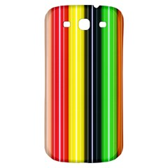 Colorful Striped Background Wallpaper Pattern Samsung Galaxy S3 S Iii Classic Hardshell Back Case by Amaryn4rt