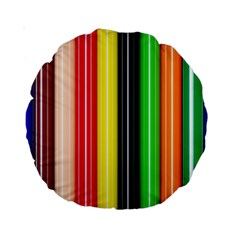 Colorful Striped Background Wallpaper Pattern Standard 15  Premium Round Cushions by Amaryn4rt