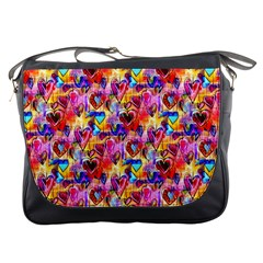 Spring Hearts Bohemian Artwork Messenger Bags by KirstenStar
