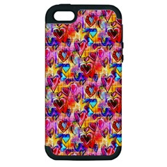 Spring Hearts Bohemian Artwork Apple Iphone 5 Hardshell Case (pc+silicone) by KirstenStar