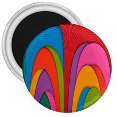 Modern Abstract Colorful Stripes Wallpaper Background 3  Magnets
