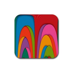 Modern Abstract Colorful Stripes Wallpaper Background Rubber Square Coaster (4 Pack)  by Amaryn4rt