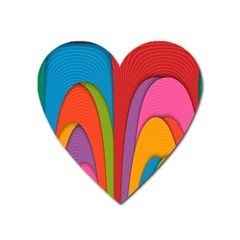 Modern Abstract Colorful Stripes Wallpaper Background Heart Magnet by Amaryn4rt