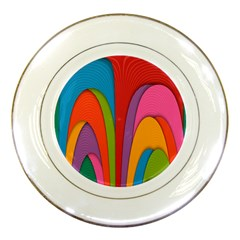 Modern Abstract Colorful Stripes Wallpaper Background Porcelain Plates by Amaryn4rt