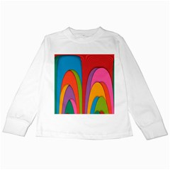 Modern Abstract Colorful Stripes Wallpaper Background Kids Long Sleeve T Shirts by Amaryn4rt