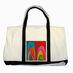 Modern Abstract Colorful Stripes Wallpaper Background Two Tone Tote Bag by Amaryn4rt