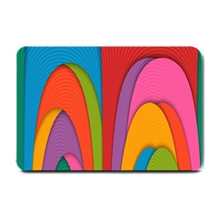 Modern Abstract Colorful Stripes Wallpaper Background Small Doormat  by Amaryn4rt