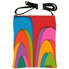 Modern Abstract Colorful Stripes Wallpaper Background Shoulder Sling Bags by Amaryn4rt