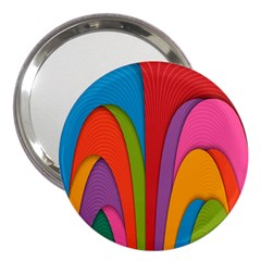 Modern Abstract Colorful Stripes Wallpaper Background 3  Handbag Mirrors by Amaryn4rt