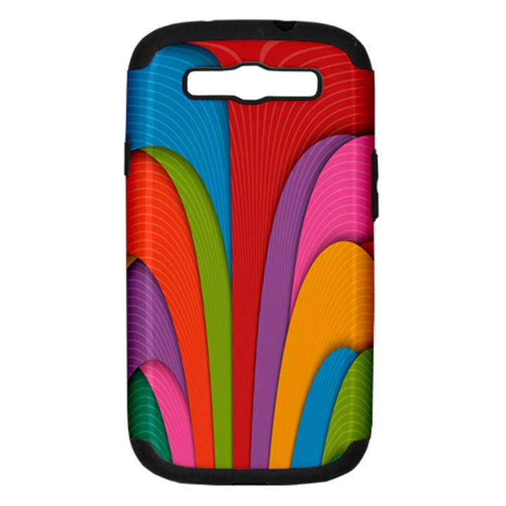 Modern Abstract Colorful Stripes Wallpaper Background Samsung Galaxy S III Hardshell Case (PC+Silicone)