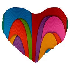 Modern Abstract Colorful Stripes Wallpaper Background Large 19  Premium Heart Shape Cushions by Amaryn4rt