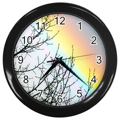 Rainbow Sky Spectrum Rainbow Colors Wall Clocks (black) by Amaryn4rt