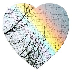 Rainbow Sky Spectrum Rainbow Colors Jigsaw Puzzle (heart) by Amaryn4rt