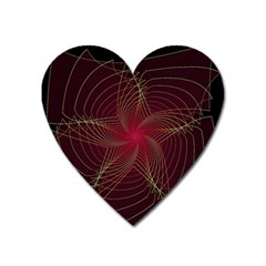 Fractal Red Star Isolated On Black Background Heart Magnet