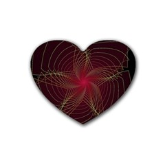 Fractal Red Star Isolated On Black Background Rubber Coaster (heart)  by Amaryn4rt