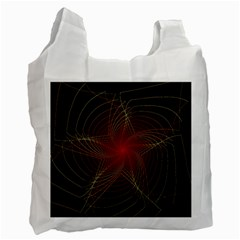 Fractal Red Star Isolated On Black Background Recycle Bag (one Side) by Amaryn4rt