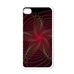 Fractal Red Star Isolated On Black Background Apple Iphone 4 Case (white) by Amaryn4rt